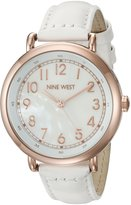 Nine West Women's NW/1726WMRG Easy To Read Rose Gold-Tone and White Leather Strap Watch