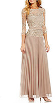 Cachet Lace Bodice Mock Two Piece Gown