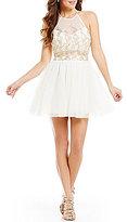 Teeze Me Faux Two-Piece High Neck Illusion-Yoke Glitter Pattern Party Dress