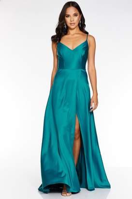 Quiz Teal Satin Strappy Split Maxi Dress