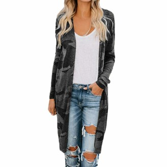 MOIKA Cardigans for Women Ladies Lightweight Long Sleeve Waterfall Open Front Midi Long Cardigan Loose Thin Trench Coat Parka Outerwear