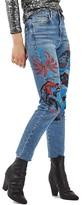 Topshop Women's Painted Straight Leg Jeans