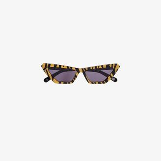 Chimi Yellow Tiger Print Cat Eye Sunglasses