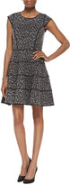 Halston Cap Sleeve Printed Dress, Heather Gray