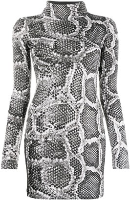 Just Cavalli Snakeskin-Effect Fitted Dress