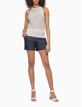 "Calvin Klein Pintuck Pique Cotton Stretch Denim 4"" City Shorts"