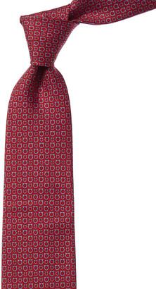 Salvatore Ferragamo Red & Blue Gancini Silk Tie