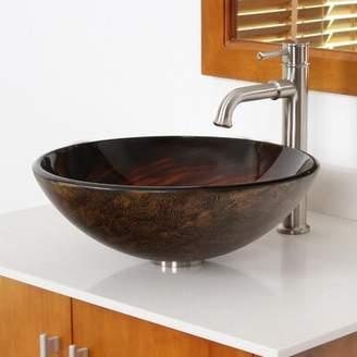 Elite Whirlpool Glass Circular Vessel Bathroom Sink Drain Finish: Brushed Nickel