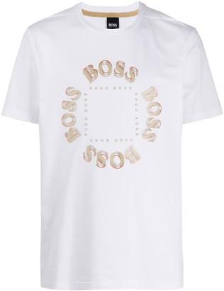HUGO BOSS circle logo crew-neck T-shirt