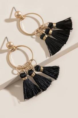 francesca's Kristen Tasseled Metal Circle Drop Earrings - Black