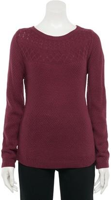 Croft & Barrow Women's Cable-Knit Yoke Boatneck Sweater