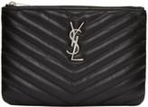 Saint Laurent Black Quilted Monogram Bag Pouch