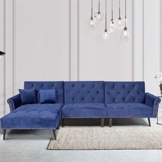 "114"" Velvet Reversible Reclining Sofa & Chaise with Ottoman wangcai Fabric: Navy Blue"