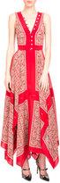 Altuzarra Sleeveless Scarf-Print Handkerchief Dress, Red Paisley