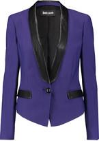 Just Cavalli Faux leather-trimmed twill blazer