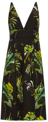 Proenza Schouler Tropical-print Cut-out Dress - Womens - Black Print