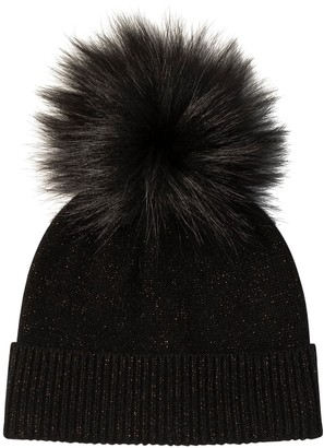 Amicale Cashmere Cuffed Lurex Hat with Genuine Fox Pom