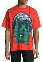 Moschino Grid Statue-Print Short-Sleeve T-Shirt, Red