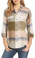 Lucky Brand Women's Plaid Roll Sleeve Shirt