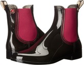 M Missoni Ankle Rain Boots, Black with Red Trim Women's Zip Boots