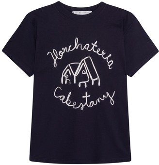 Berta Cabestany Mazapan Embroidered Navy T-Shirt