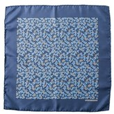 Hermes Blue Silk Pocket Square.