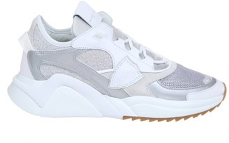 Philippe Model Eze Sneakers In Silver Leather And Fabric