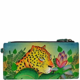 Anna by Anuschka Women's Handpainted Leather Jungle Leopard Wallet One Size
