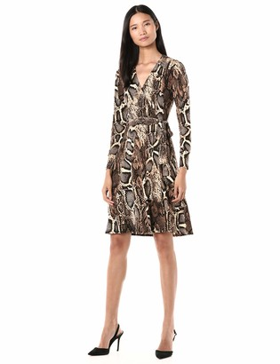 Donna Morgan Women's Long Sleeve Self Tie Snake Print Matte Jersey Dress