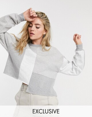 Reclaimed Vintage inspired patchwork sweat in grey