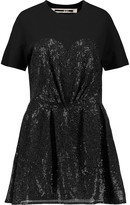 McQ by Alexander McQueen Sequined tulle and cotton-jersey mini dress