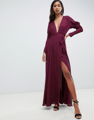 Asos Design DESIGN maxi dress in satin with sleeve detail and square neck-Purple