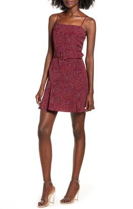 J.o.a. Woven Dotted Mini Dress