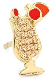 Judith Leiber 14K Goldplated Sterling Silver & Cubic Zirconia Cocktail Single Stud Earring