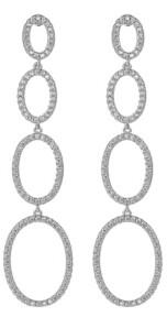 A&M A & M Silver-Tone Quad Oval Drop Earrings