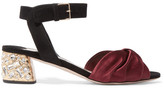 Miu Miu Crystal-embellished Knotted Satin And Suede Sandals - Burgundy