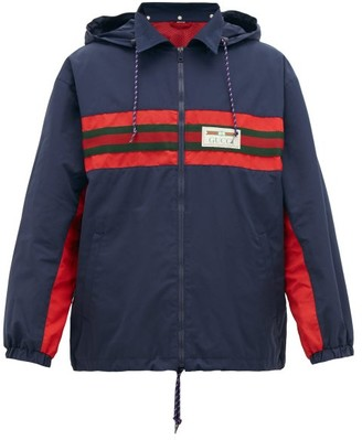 Gucci Web-stripe Shell Hooded Jacket - Navy