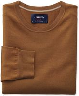 Charles Tyrwhitt Tan Merino Wool Crew Neck Jumper Size Large
