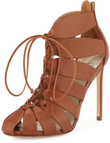Francesco Russo Lace-Up Leather Gladiator Bootie