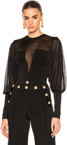 Balmain Sheer Sleeve Bodysuit