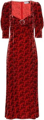 Rixo Karen floral velvet midi dress
