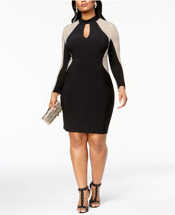 Xscape Evenings Plus Size Caviar-Beaded Illusion Dress