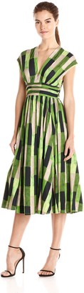 Tracy Reese Women's Abstract Print Fit and Flare Dress