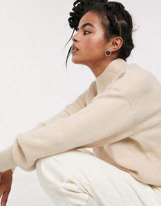 And other stories & compact yarn drop shoulder sweater in cream