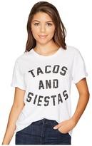 Original Retro Brand The Tacos and Siestas Slub Rolled Short Sleeve Tee (White) Women's T Shirt