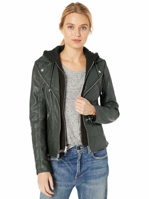 GUESS Women's Faux Leather Hooded Moto Jacket