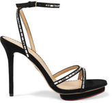 Charlotte Olympia Evelyn Crystal-embellished Suede Sandals - Black