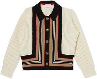BURBERRY KIDS Icon Stripe Detail Cardigan