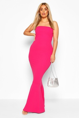 boohoo Plus Bandeau Fishtail Maxi Dress