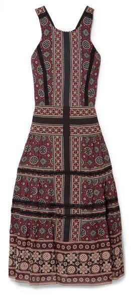 Sea Ezri Crochet-trimmed Printed Georgette Midi Dress - Burgundy